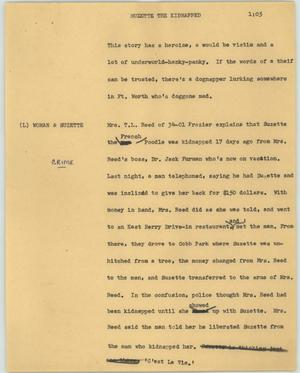 Primary view of object titled '[News Script: Suzette the kidnapped]'.