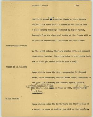 Primary view of object titled '[News Script: Carswell fiesta]'.