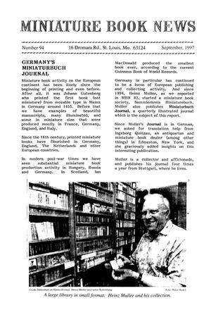 Primary view of object titled 'Miniature Book News # 94: 1997 September'.