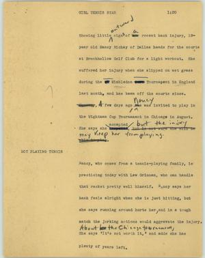 Primary view of object titled '[News Script: Girl tennis star]'.