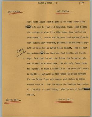 Primary view of object titled '[News Script: Mayor Justin]'.