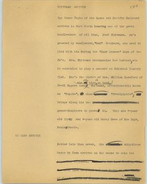Primary view of object titled '[News Script: Whiteman arrives]'.