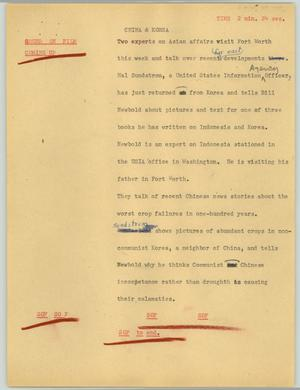 Primary view of object titled '[News Script: China & Korea]'.