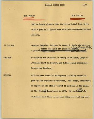 Primary view of object titled '[News Script: Dallas United Fund]'.