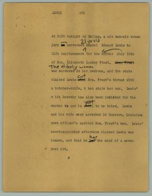 Primary view of object titled '[News Script: Lewis]'.
