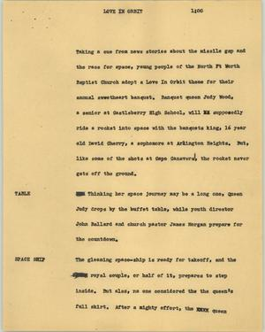 Primary view of object titled '[News Script: Love in orbit]'.