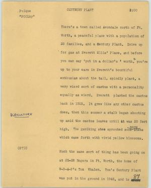 Primary view of object titled '[News Script: Centrury plant]'.
