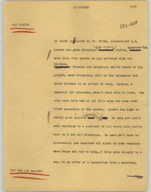 Primary view of object titled '[News Script: Hiccoughs]'.
