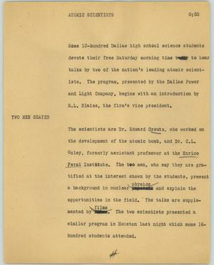 Primary view of object titled '[News Script: Atomic scientists]'.