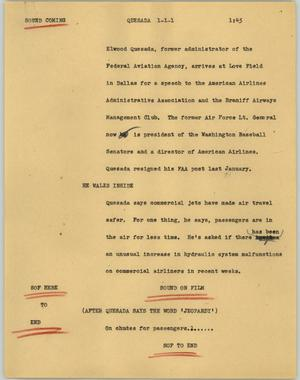 Primary view of object titled '[News Script: Quesada]'.
