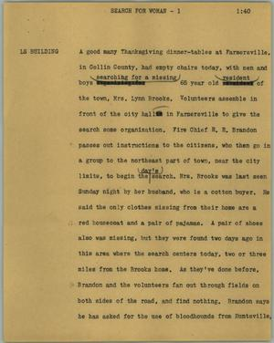 Primary view of object titled '[News Script: Search for woman]'.