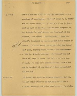 Primary view of object titled '[News Script: TB hearing]'.