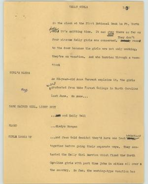 Primary view of object titled '[News Script: Kelly girls]'.