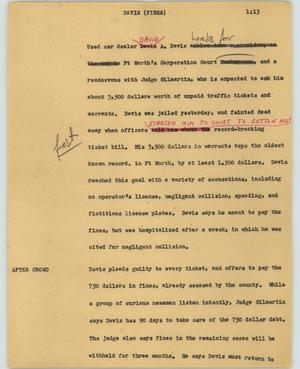 Primary view of object titled '[News Script: Davis (Fines)]'.