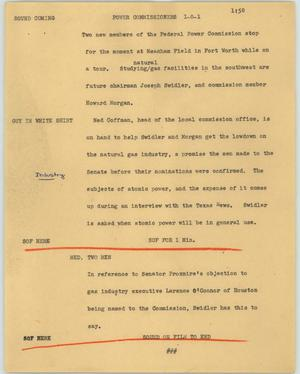 Primary view of object titled '[News Script: Power commissioners]'.