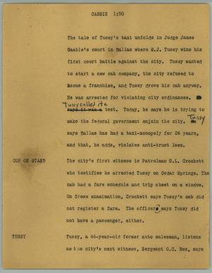 Primary view of object titled '[News Script: Cabbie]'.