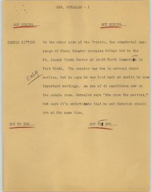 Primary view of object titled '[News Script: Sen. Gonzalez]'.