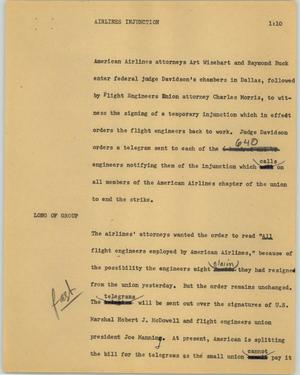 Primary view of object titled '[News Script: Airline injunctions]'.