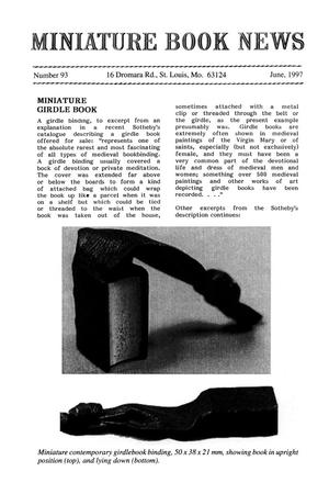 Primary view of object titled 'Miniature Book News # 93: 1997 June'.