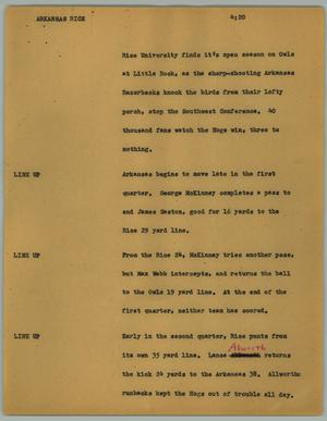 Primary view of object titled '[News Script: Arkansas Rice]'.