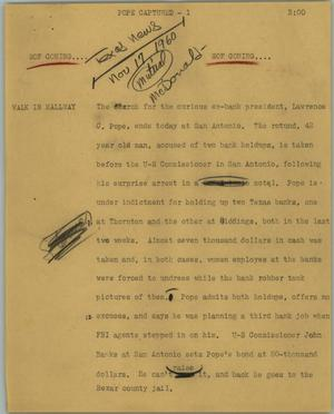 Primary view of object titled '[News Script: Pope captured]'.