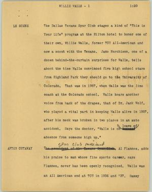 Primary view of object titled '[News Script: Willie walls]'.
