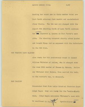 Primary view of object titled '[News Script: Mackin murder trial]'.