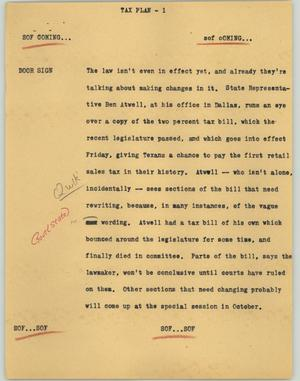 Primary view of object titled '[News Script: Tax plan]'.