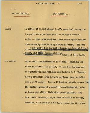 Primary view of object titled '[News Script: B-58's come home]'.