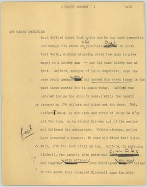 Primary view of object titled '[News Script: Grocery robber]'.