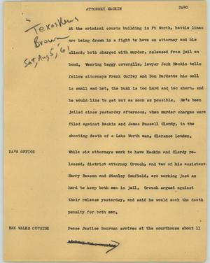 Primary view of object titled '[News Script: Attorney Mackin]'.