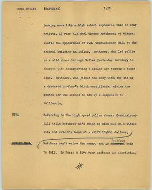 Primary view of object titled '[News Script: News briefs (Matthews)]'.