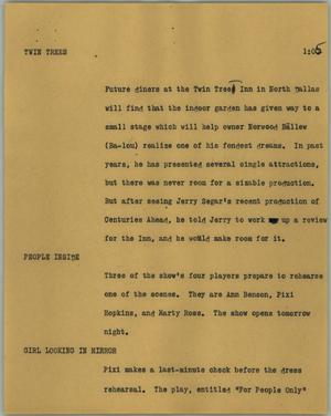 Primary view of object titled '[News Script: Twin Trees]'.