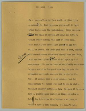 Primary view of object titled '[News Script: Mr. Quiz]'.