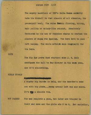 Primary view of object titled '[News Script: Powder puff]'.