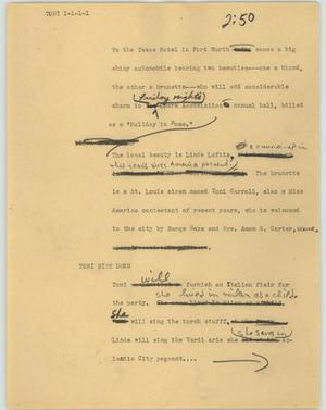 Primary view of object titled '[News Script: Toni]'.