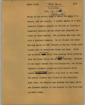 Primary view of object titled '[News Script: Negro thief]'.