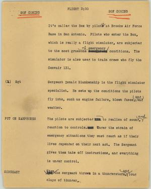 Primary view of object titled '[News Script: Flight]'.