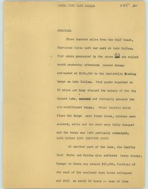 Primary view of object titled '[News Script: Carla hits lake Dallas]'.