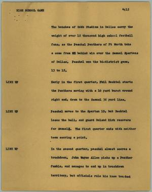 Primary view of object titled '[News Script: High school game]'.