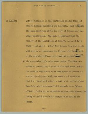 Primary view of object titled '[News Script: Post office robbers]'.
