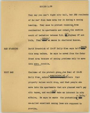 Primary view of object titled '[News Script: Zoning L]'.