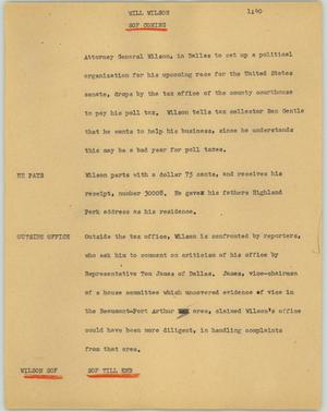 Primary view of object titled '[News Script: Will Welson]'.