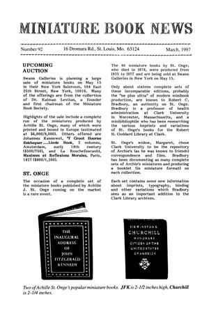 Primary view of object titled 'Miniature Book News # 92: 1997 March'.