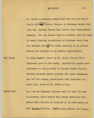 Primary view of object titled '[News Script: Extradite]'.