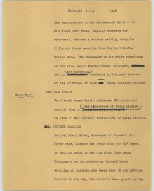 Primary view of object titled '[News Script: Recruits]'.