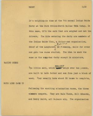 Primary view of object titled '[News Script: Derby]'.
