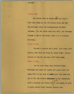 Primary view of object titled '[News Script: TCU-SMU]'.