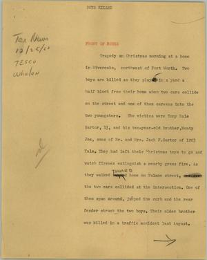 Primary view of object titled '[News Script: Boys killed]'.