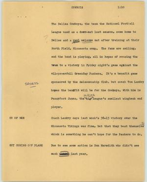 Primary view of object titled '[News Script: Cowboys]'.